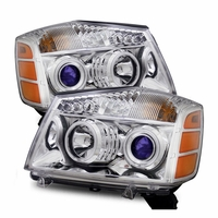 04-14 Nissan Titan / 04-07 Armada  CCFL Angel Eye Halo & LED Projector Headlights - Chrome