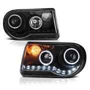 2005-10 Chrysler 300C [Do not fit 300] Halo & LED DRL Projector Headlights - Black