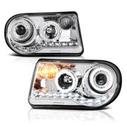 2005-10 Chrysler 300C [Do not fit 300] Halo & LED DRL Projector Headlights - Chrome