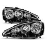 2005-2006 Acura RSX Crystal Replacement Headlights - Black Clear