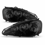 2005-2006 Acura RSX Crystal Replacement Headlights - Black Smoked