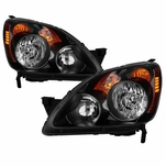 2005-2006 Honda CRV C-RV Headlights Headlamps Black JDM Style Left+Right Set