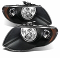 2005-2007 Chrysler Town & Country Replacement Crystal Headlights - Black