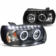 2005-2007 Ford Escape Dual Halo w/LED Light Projector Headlights - Black