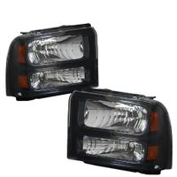 2005-2007 Ford F250 F350 Super Duty Crystal Replacement Headlights - Black