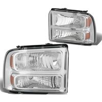 2005-2007 Ford F250 F350 Super Duty Crystal Replacement Headlights - Chrome