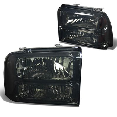 2005-2007 Ford F250 F350 Super Duty Crystal Replacement Headlights - Smoked
