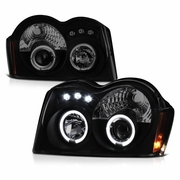 2005-2007 Jeep Grand Cherokee Angel Eye Halo & LED Projector Headlights - Black / Smoked