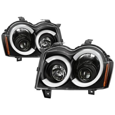 2005-2007 Jeep Grand Cherokee Black LED Tube DRL Projector Headlights