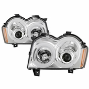 2005-2007 Jeep Grand Cherokee Chrome LED Tube DRL Projector Headlights