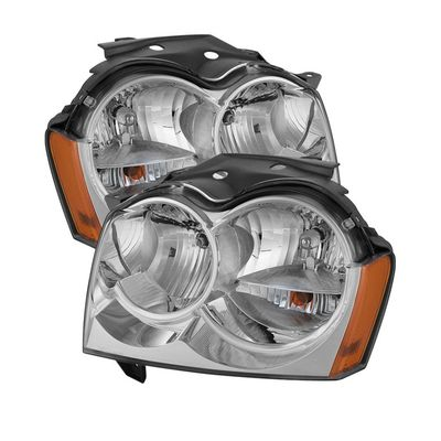 2005-2007 Jeep Grand Cherokee Replacement Crystal Headlights - Chrome