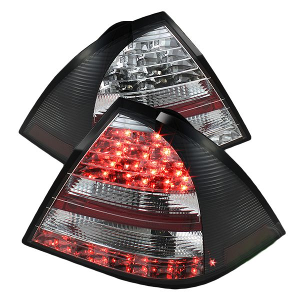 2005-2007 Mercedes Benz C-Class W203 Euro Style LED Tail Lights - Black