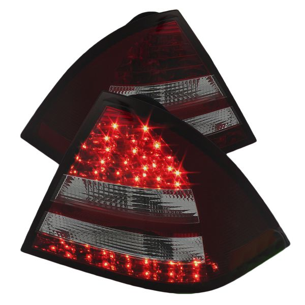 2005-2007 Mercedes Benz C-Class W203 Euro Style LED Tail Lights - Red / Smoked