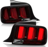 2005-2009 Ford Mustang LED Tube Sequential Signal Tail Lights Lamps Black w/ Red