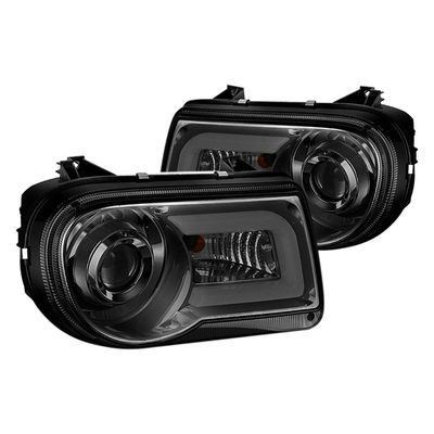 2005-2010 Chrysler 300C LED DRL Projector Headlights - Smoked