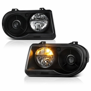2005-2010 Chrysler 300C Replacement Projector Headlights - Black