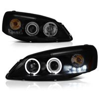 2005-2010 Pontiac G6 Dual Angel Eye Halo & LED Projector Headlights - Black / Smoked
