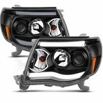 2005-2011 Toyota Tacoma LED DRL Projector Headlights - Black