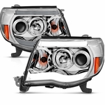 2005-2011 Toyota Tacoma LED DRL Projector Headlights - Chrome