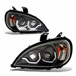 2005-2013 Freightliner Columbia LED DRL Projector Headlights - Black