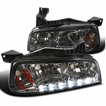 2006-10 Dodge Charger SMD LED DRL 1PC Headlights w/ Corner - Smoked