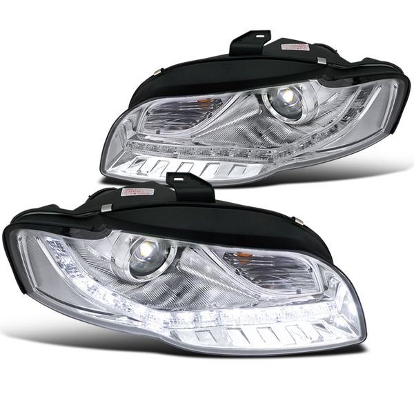 2006-2008 Audi A4 Clear LED Strip Projector Headlights - Chrome