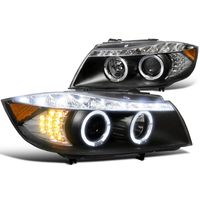 2006-2008 BMW E90 3-Series 4dr [Halogen Model] Halo LED DRL Projector Headlights - Black