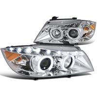 2006-2008 BMW E90 3-Series 4dr [Halogen Model] Halo LED DRL Projector Headlights - Chrome