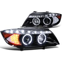 2006-2008 BMW E90 3-Series 4dr [Halogen Model] Halo LED DRL Projector Headlights - Gloss Black
