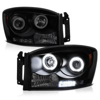 2006-2008 Dodge RAM 1500 2500 3500 Angel Eye Halo & LED Projector Headlights - Black Smoked
