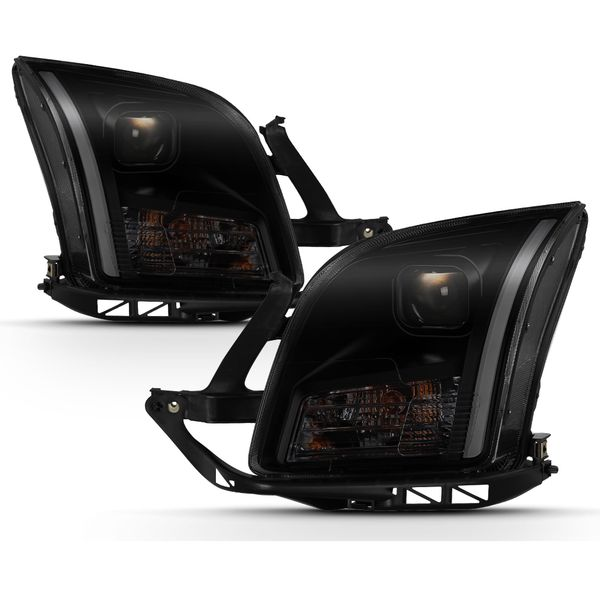 2006-2009 Ford Fusion LED DRL Tube Projector Headlights Black Smoked