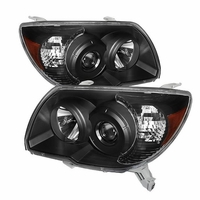 2006-2009 Toyota 4Runner Replacement Black Projector Headlights Driver + Passenger Side