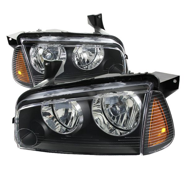 2006-2010 Dodge Charger Euro Black Clear Headlights + Corner Signal Lamps