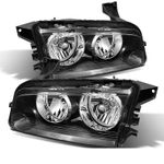 2006-2010 Dodge Charger [Halogen Model] Replacement Crystal Headlights - Black