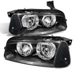 2006-2010 Dodge Charger [Halogen Model] Replacement Crystal Headlights + Corner Lens - Black