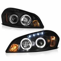 2006-2013 Chevy Impala Angel Eye Halo & LED Projector Headlights - Black