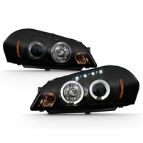 2006-2013 Chevy Impala Angel Eye Halo & LED Projector Headlights - Black / Smoked