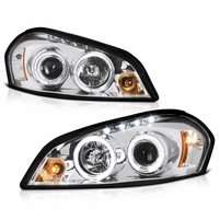 2006-2013 Chevy Impala Angel Eye Halo & LED Projector Headlights - Chrome