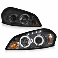 2006-2013 Chevy Impala Angel Eye Halo & LED Projector Headlights - Smoked