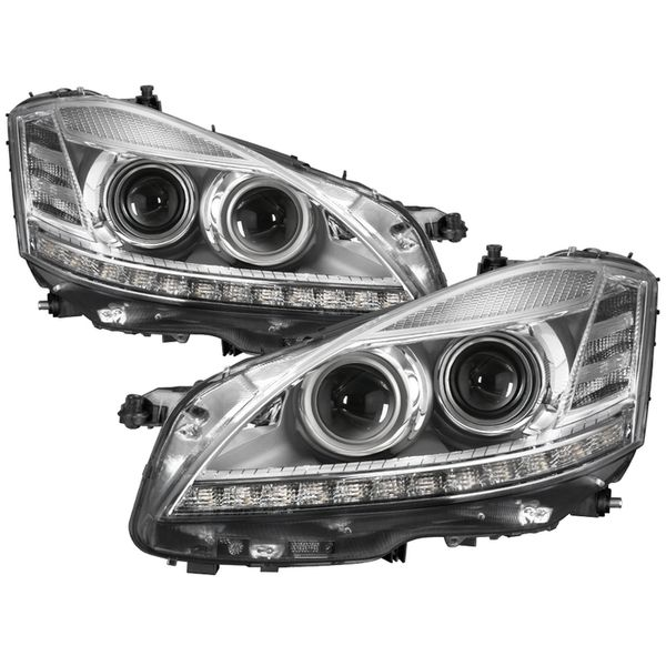 07-09 Mercedes Benz W221 S Class [Factory HID / Xenon Headlights] LED Projector Headlights - Chrome