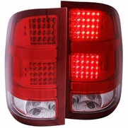 2007-2010 GMC Sierra Full Performance LED Tail Lights - Red / Clear