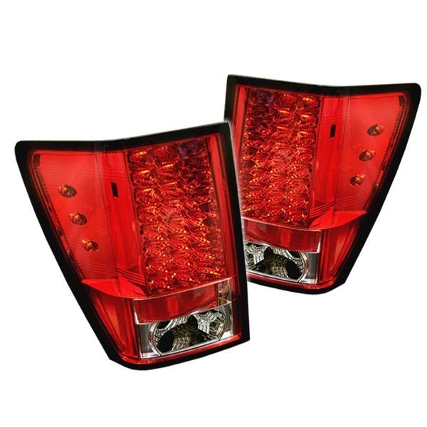 2007-2010 Jeep Grand Cherokee LED Tail Brake Lights - Red / Clear ALT-YD-JGC07-LED-RC By Spyder