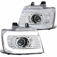 2007-2013 Chevy Avalanche Tahoe Suburban LED DRL Tube Projector Headlights - Chrome