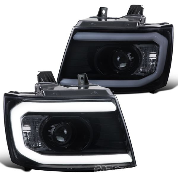 2007-2013 Chevy Avalanche Tahoe Suburban LED DRL Tube Projector Headlights - Smoked