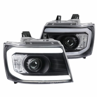 2007-2013 Chevy Avalanche Tahoe Suburban LED Strip Tube Projector Headlights - Black
