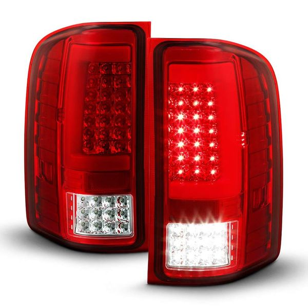2007-2013 Chevy Silverado 1500 2500 3500 Chrome Housing Red Lens Sequentia Full LED Tube Tail Lights
