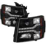 2007-2013 Chevy Silverado 1500 2500 3500 LED DRL Strip Projector Headlights - Black