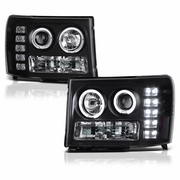 07-13 GMC Sierra 1500 / 08-14 2500HD 3500HD LED Angel Eye Projector Headlights - Black