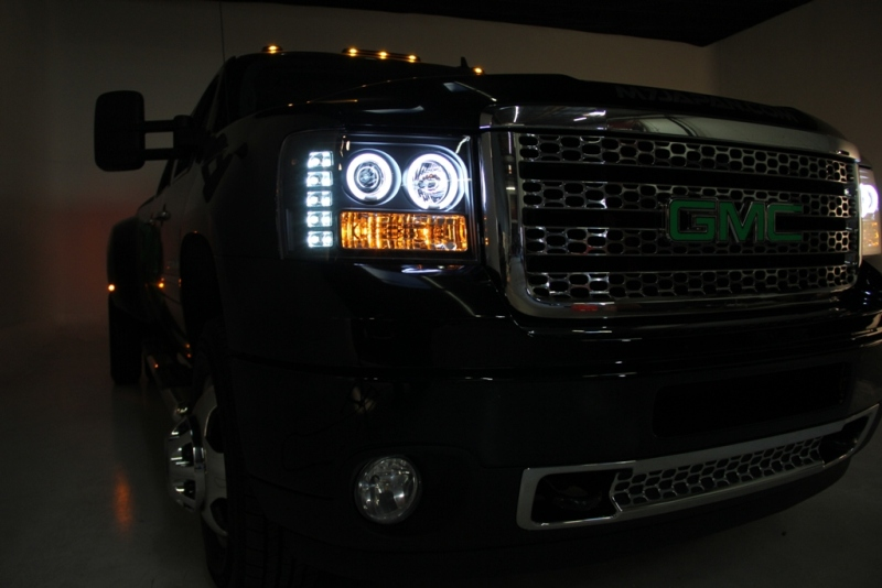 07 13 Gmc Sierra 1500 08 14 2500hd 3500hd Led Angel Eye Projector Headlights Smoked