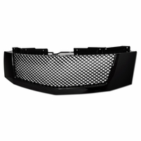 2007-2014 Cadillac Escalade/EXT Mesh Front Hood Bumper Grille - Gloss Black